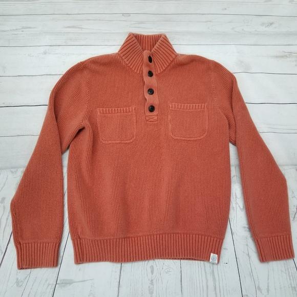 Lucky Brand Sweaters Mens M Military Mock Neck Burnt Henna Poshmark